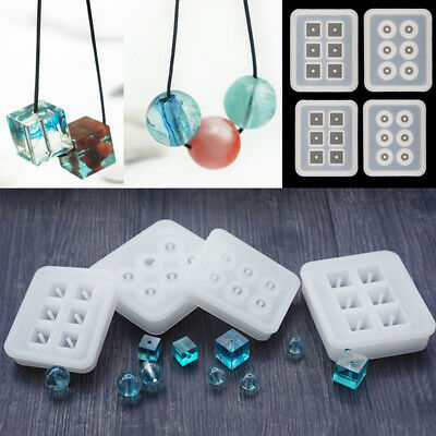 Silicone Bead Cube Ball Mold Bracelet Pendant Necklace Jewelry Mould Resin Craft
