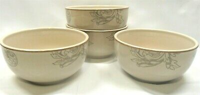 Bonjour Orchard Harvest Deep Cereal/Soup Bowls x4 Gray Vines Coupe Tan Trim