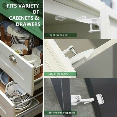 Cute 5 pcs Child Safety Cabinet Invisible Drawer Locks Self Adhesive