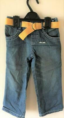 New Boys Faded Blue Jeans and Yellow Belt 100% Cotton - Exstore M&S - Ages 2-5Y