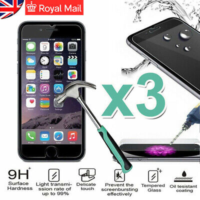 3x For Apple iPhone X 8 7 6 5 Plus Tempered Glass Screen Protector -100% Genuine