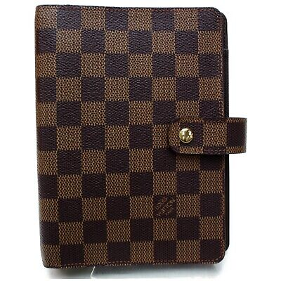 Authentic Louis Vuitton Diary Cover Agenda MM Browns Damier 817599