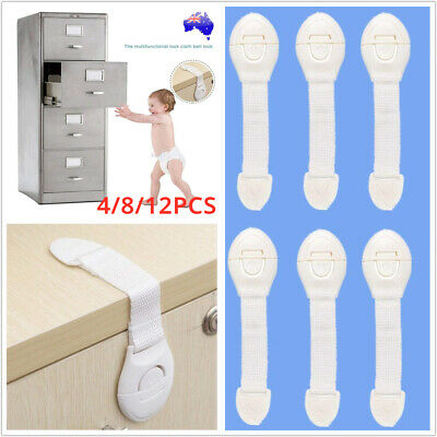 4/8/12x Child Adhesive Kid Baby Safety Drawer Door Belt Lock Cupboard Cabinet AU