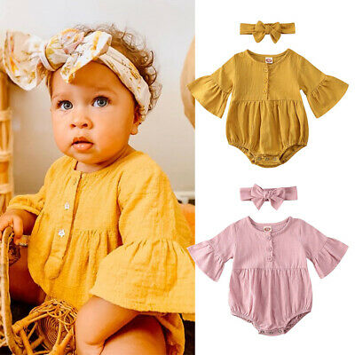 UK Seller Newborn Baby Girls Clothes Ruffle Sleeve Romper Jumpsuit Button Outfit