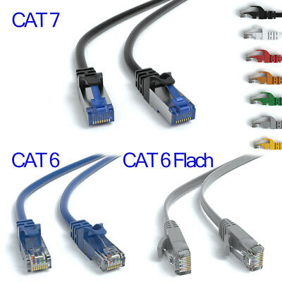 CAT 6 CAT 7 Patchkabel Flachkabel | RJ45 LAN Ethernet Netzwerkkabel 0,25m - 50m