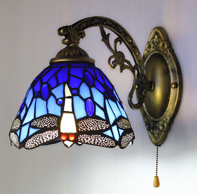 NEW Tiffany Style Stained Glass Wall Sconce Dragonfly Wall Lamp Vintage light UK