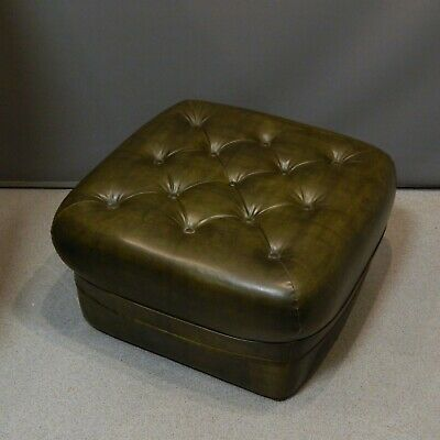 Vintage Green Sherborne Chesterfield Style Vinyl Footstool Pouffe Mid Century
