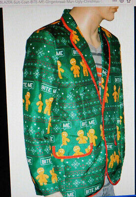 HOLIDAY PARTY Mens Green Gingerbread Man BITE ME Suit Jacket Ugly Sweater Size M