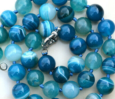 New10MM ANTIQUE ART DECO GENUINE RARE BLUE CHALCEDONY AGATE BEADS NECKLACE 18""