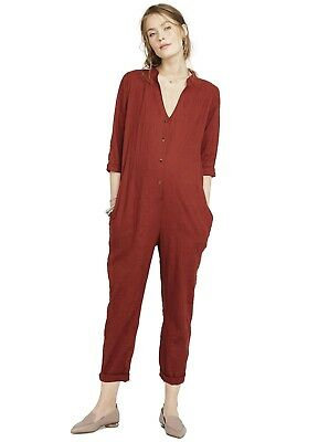 Hatch Maternity Women's THE TAYLOR JUMPER Cotton Jumpsuit Rust P (PETITE) NEW