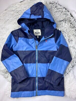 Joules Right As Rain Jacket Boys 8 Blue Rugby Stripe Hooded Rubber