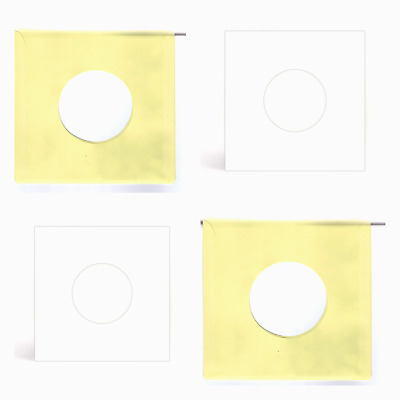 "50 SHEETS - YELLOW & WHITE PAPER RECORD SLEEVES W/HOLES for 7"" RECORDS (45's)"