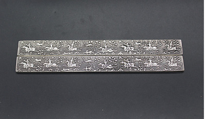 Old Chinese  Tibetan silver  Go hunting  Writing calligraphy  Paper weight