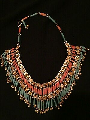 VTG Art Deco Necklace Egyptian Revival Flapper Fringe 1930s Faience Beads Brass