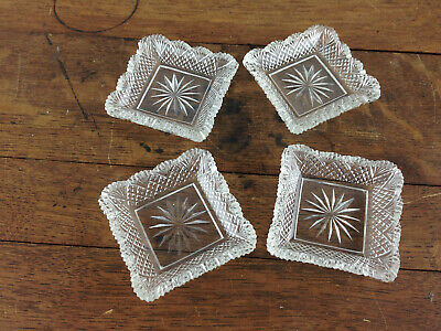 Lot of 4 Vintage Square Crystal Butter Pats Dishes  #WH-10