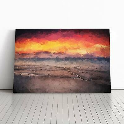 Spanish Beach at Sunset in Abstract Landscape Framed Canvas Print Wall Art