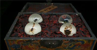 "10.24""China exquisite insect Luminous ball A set&lacquerware painted  Dragon box"