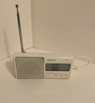 Sony AM FM Receiver Radio ICF-380 White Portable Antenna Carry Hook Clip Tested