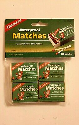 Coghlan's Waterproof Matches 120 Count Wooden Fire Starters 4 Boxes w/Strikers