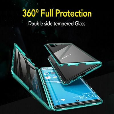 Case For Samsung Galaxy Note 10+ S9 S8 Plus 360° Magnetic Glass Protection Cover