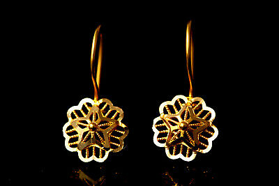 Solid Gold Earrings Anatolian Ethnic Filigree Handcrafted Earrings