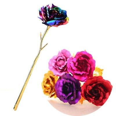 2Pcs 24k Gold Plated Rose Flower Romantic Valentine's Day Mother Girlfriend Gift