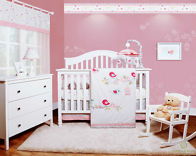 6-Piece Happy Enchanted Birds Baby Girl Nursery Crib Bedding Sets By OptimaBaby