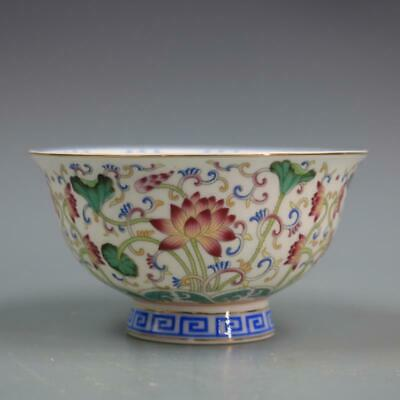 Chinese ancient antique hand make Pastel Lotus Bowl