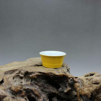 Chinese ancient antique hand make Yellow glazed horseshoe cup