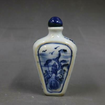 Chinese ancient antique hand make Blue and White Snuff Bottle