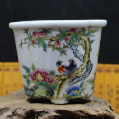 Chinese ancient antique hand make Flowers, birds and peaches Flowerpot