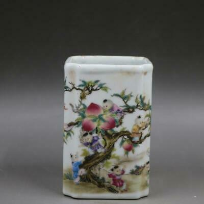 Chinese ancient antique hand make  peach pattern Pen container