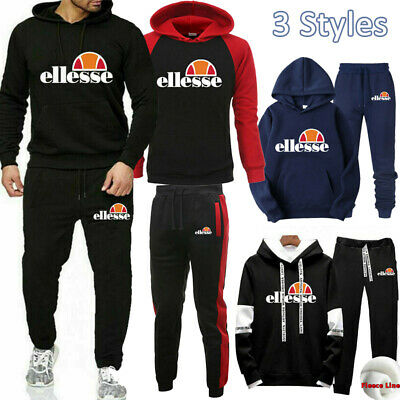 Ellesse Mens Tracksuit Set Hoodie Top Bottoms Joggers Trousers Jogging Trackies
