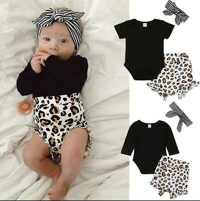 Toddler Kids Baby Girls Infant Clothes Romper Tops+Leopard Print Pants Outfits