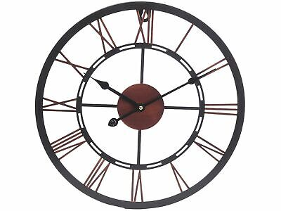 Industrial Metal Black & Copper Skeleton Cut Out Dial Round Wall Clock 40 cm