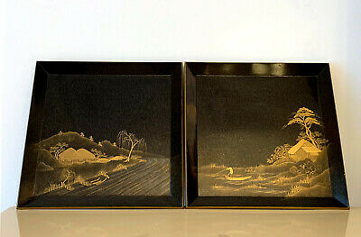 Pair of Antique Japanese Maki-e Lacquer Trays