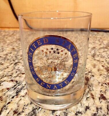 UNITED STATES SENATE CLEAR GLASS Cocktail Old Fashioned Glass 13 STARS CLEAN