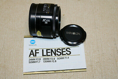 Minolta 28mm F2.8 AF camera lens bayonet sony fitting