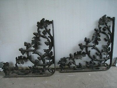 2 Large Vintage Cast Iron Ornate Shelf Brackets Oak Leaf Acorn  REDUCED