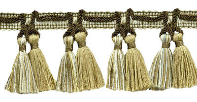 "Light Brown, Ivory, Sandstone Beige 2.5"" Tassel Fringe Trim Cappuccino [18 Yards"