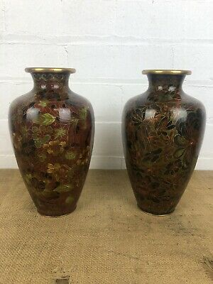 Stunning Antique Chinese Matching Pair Cloisonne Vases, Bronze Leaf Tones 9""