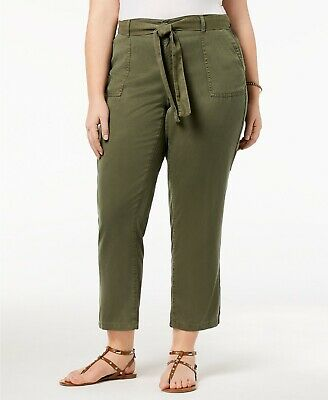 Style & Co. Women's Plus Size Mid-Rise Straight Leg Soft Pants, Olive Green, 18W