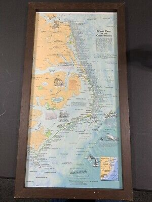 Map 1970 Ghost Fleet Of The Outer Banks National Geographic Map Framed