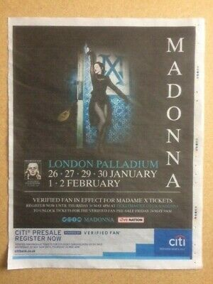 "2 MADONNA ""London Palladium 2020"" Original Promo Newspaper Adverts / Posters"