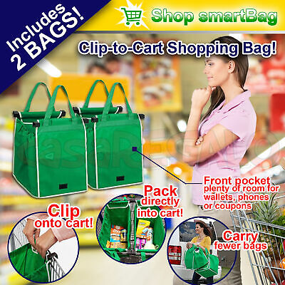 2x SHOP SMART BAG Supermaket Shopping Cart Foldable Reusable Grab Bags with Clip