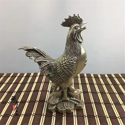 Chinese Tibet silver Copper Handmade Carving get rich chicken crafts Statue