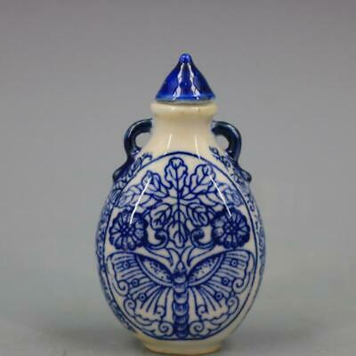 Chinese ancient antique hand make Blue-and-white butterfly-pattern snuff bottle