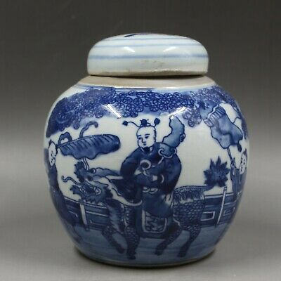 Chinese ancient antique hand make Blue and White Kirin Tea Can m44