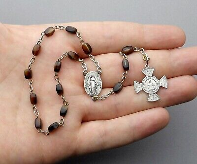 French Antique Rosary. Crucifix. Cross. Jesus. Miraculous Virgin Mary. Medal.