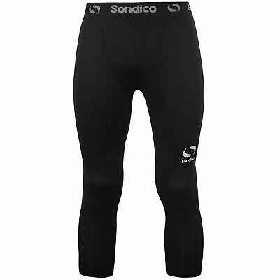 Sondico Core 3/4 Baselayer Tights Mens Black Football Soccer Training Pants